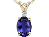 Tommaso Design™ Oval 8x6 mm Genuine Iolite and Diamond Pendant