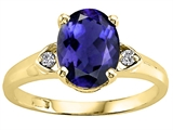 Tommaso Design™ Oval 9x7mm Genuine Iolite and Diamond Ring