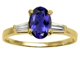 Tommaso Design™ Oval 7x5mm Genuine Iolite and Diamond Engagement Ring