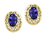 Tommaso Design Oval 6x4 mm Genuine Iolite Earrings