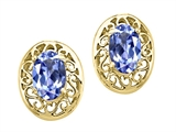 Tommaso Design™ Oval 6x4 mm Genuine Tanzanite Earrings