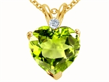 Tommaso Design Heart Shape 8mm Genuine Peridot Pendant
