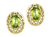Tommaso Design Oval 6x4 mm Genuine Peridot Earrings