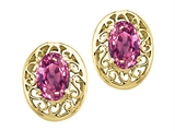 Tommaso Design Oval 6x4 mm Genuine Pink Tourmaline Earrings