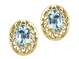 Tommaso Design™ Oval 6x4 mm Genuine Aquamarine Earrings