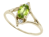 Tommaso Design™ Oval 6x4 mm Genuine Peridot and Diamond Ring style: 21882