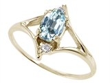Tommaso Design™ Genuine Aquamarine and Diamond Ring style: 21885