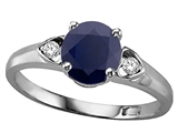 Tommaso Design™ Round 7mm Genuine Sapphire and Diamond Ring