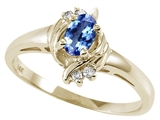 Tommaso Design™ Oval 5x3 mm Genuine Tanzanite and Diamond Ring