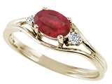 Tommaso Design™ Genuine Ruby and Diamonds Ring