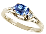 Tommaso Design™ Oval 6x4 mm Genuine Tanzanite and Diamond Ring
