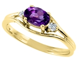 Tommaso Design™ Genuine Amethyst and Diamond Ring style: 22077