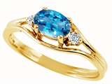 Tommaso Design™ Oval 6x4 mm Genuine Blue Topaz and Diamond Ring