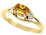 Tommaso Design™ Oval 6x4 mm Genuine Citrine and Diamond Ring