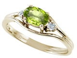 Tommaso Design™ Oval 6x4 mm Genuine Peridot and Diamond Ring