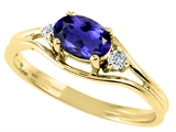Tommaso Design™ Oval 6x4 mm Genuine Iolite and Diamond Ring