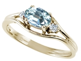 Tommaso Design™ Genuine Aquamarine and Diamond Ring style: 22083
