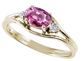 Tommaso Design™ Oval 6x4 mm Genuine Pink Tourmaline and diamond Ring