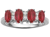 Tommaso Design™ 4 Stone Genuine Ruby and Diamond Ring