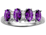 Tommaso Design™ Genuine 4 Stone Amethyst and Diamond Ring