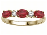 Tommaso Design™ Genuine Ruby and Diamond 3 Stone Ring