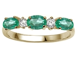 Tommaso Design Genuine Emerald and Diamond 3 Stone Ring