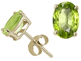 Tommaso Design 7x5mm Oval Genuine Peridot Earring Studs