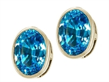 Tommaso Design™ Checkerboard Cut Genuine Oval Blue Topaz Earring Studs