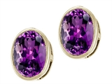 Tommaso Design™ Checkerboard Cut Genuine Oval Amethyst Earring Studs