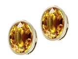 Tommaso Design™ Oval Genuine Citrine Earrings Studs style: 22400
