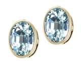 Tommaso Design Genuine Oval Aquamarine Earring Studs
