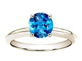 Tommaso Design™ 7mm Round Genuine Blue Topaz Solitaire Engagement Ring