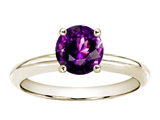 Tommaso Design™ Round 7mm Genuine Amethyst Solitaire Engagement Ring