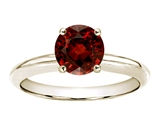 Tommaso Design™ 7mm Round Genuine Garnet Solitaire Engagement Ring