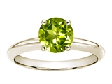 Tommaso Design™ 7mm Round Genuine Peridot Solitaire Engagement Ring