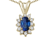 Tommaso Design™ Oval 7x5mm Genuine Sapphire and Diamond Pendant style: 22487