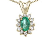Tommaso Design™ Oval 7x5mm Genuine Emerald and Diamond Pendant style: 22491