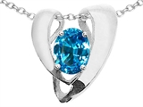 Tommaso Design™ Oval 9x7mm Genuine Blue Topaz Pendant Enhancer with large opening for Omega Chain