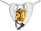 Tommaso Design™ Oval 9x7mm Genuine Citrine Pendant Enhancer with large opening for Omega Chain
