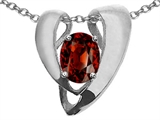 Tommaso Design™ Oval 9x7mm Genuine Garnet Pendant Enhancer with large opening for Omega Chain