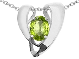 Tommaso Design™ Oval 9x7mm Genuine Peridot Pendant Enhancer with large opening for Omega Chain