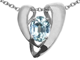 Tommaso Design™ Oval 9x7mm Genuine Aquamarine Pendant Enhancer with large opening for Omega Chain