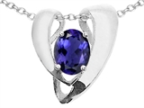 Tommaso Design™ Oval 9x7mm Genuine Iolite Pendant Enhancer with large opening for Omega Chain