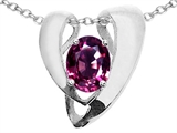 Tommaso Design™ Oval 9x7mm Genuine Pink Tourmaline Pendant Enhancer with large opening for Omega Chain