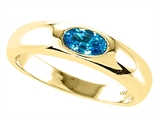 Tommaso Design™ Oval 6x4mm Genuine Blue Topaz Ring