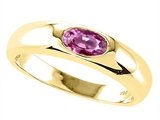 Tommaso Design™ Oval 6x4mm Genuine Pink Tourmaline Ring