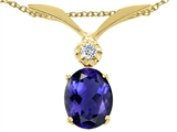 Tommaso Design™ Oval 7x5mm Genuine Iolite and Diamond Pendant style: 22669