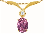 Tommaso Design™ Oval 7x5mm Genuine Pink Tourmaline and Diamond Pendant style: 22670