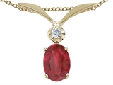Tommaso Design™ Oval 7x5mm Genuine Ruby and Diamond Pendant