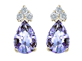 Tommaso Design™ Pear Shape 7x5mm Genuine Tanzanite Earrings